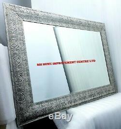 Large Moroccan Design Rectangular Wall Mirror Light Gold 120x80cm