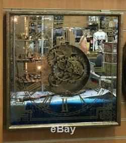 Large Moving Gears Wall Clock Steampunk Retro Style Gold Distressed Look
