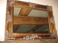 Large Ornate Gilt Framed Mirror. Over Mantel Wall Mounted Vintage