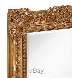 Large Ornate Gold Baroque Frame Mirror Aged Luxury Elegant Rectangle Wall