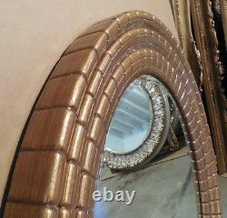 Large Ornate Gold Hard Resin 41 Round Beveled Framed Wall Mirror
