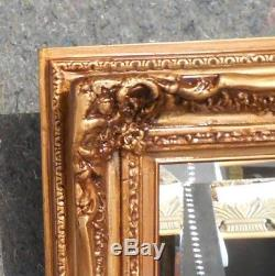 Large Ornate Gold Solid Wood 25x33 Rectangle Beveled Framed Wall Mirror