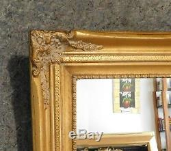 Large Ornate Gold Solid Wood 32x43 Rectangle Beveled Framed Wall Mirror