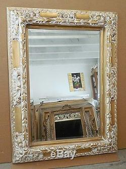 Large Ornate Gold Solid Wood 36x48 Rectangle Beveled Framed Wall Mirror
