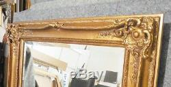 Large Ornate Gold Solid Wood 41x51 Rectangle Beveled Framed Wall Mirror