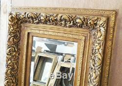 Large Ornate Gold Wood/Resin 26x30 Rectangle Beveled Framed Wall Mirror