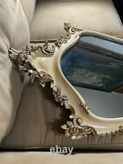 Large Ornate Italian Carved Shield Shape Wall Mirror 40.0 Tall x 23.0 Wide