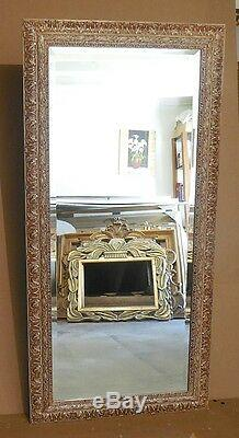 Large Ornate Solid Wood 29x59 Rectangle Beveled Framed Wall Mirror
