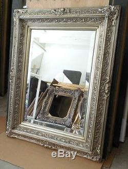 Large Ornate Solid Wood 31x39 Rectangle Beveled Framed Wall Mirror