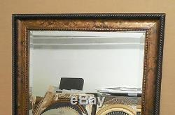 Large Ornate Solid Wood 31x43 Rectangle Beveled Framed Wall Mirror