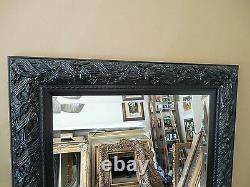 Large Ornate Solid Wood 33x45 Rectangle Beveled Framed Wall Mirror