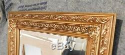 Large Ornate Solid Wood 34x44 Rectangle Beveled Framed Wall Mirror