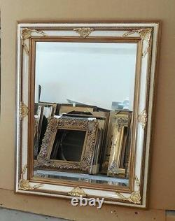 Large Ornate Solid Wood 35x45 Rectangle Beveled Framed Wall Mirror