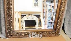 Large Ornate Solid Wood 36x48 Rectangle Beveled Framed Wall Mirror