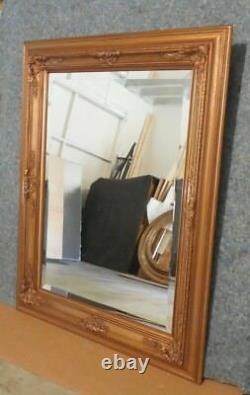 Large Ornate Solid Wood 38x49 Rectangle Beveled Framed Wall Mirror