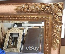 Large Ornate Solid Wood 41x51 Rectangle Beveled Framed Wall Mirror