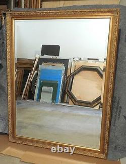 Large Ornate Solid Wood 42x54 Rectangle Beveled Framed Wall Mirror
