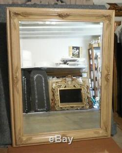 Large Ornate Solid Wood 46x58 Rectangle Beveled Framed Wall Mirror
