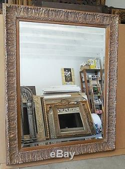 Large Ornate Solid Wood 47x59 Rectangle Beveled Framed Wall Mirror