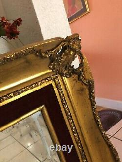 Large Ornate Victorian Style Rococo Gilt Wooden Frame 36 x 59 1/2 Wall Mirror