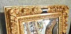 Large Ornate Wood/Resin 32x36 Rectangle Beveled Framed Wall Mirror