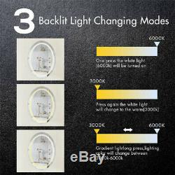 Large Oval Bathroom Mirror Anti-Fog Wall Mounted Makeup Mirror with High Lumen LED