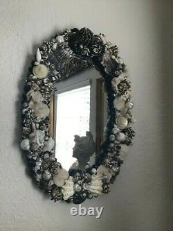 Large Oval Exotic Seashell Coral Wall Mirror