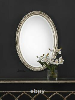 Large Oval Wall Mirror Antiqued Silver Beaded Bathroom Bedroom Foyer Hall Decor