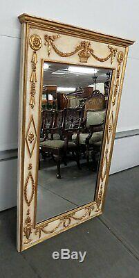 Large Painted & Gilded Carved Wood French Louis XV Style Wall Mirror