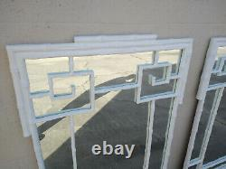Large Pair of Greek Key Faux Bamboo Mirrors Lacquered White Regency Palm Beach