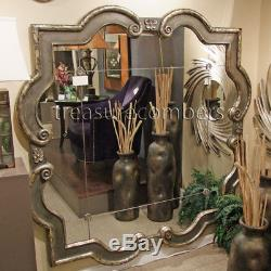 Large QUATREFOIL Wall Mirror Ornate Silver Leaf Frame 36