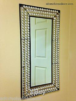 Large Rectangle Metal Wall Crystal Jewel Mirror Rustic Modern Decor Unique New