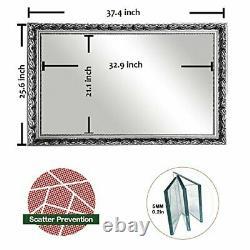 Large Rectangular Bathroom Mirror, Wall-Mounted Wooden Frame Vanity 38x26
