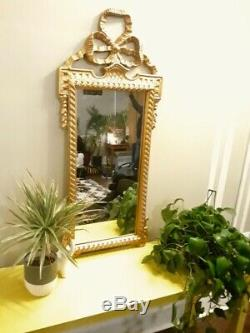 Large Regal Vintage Gold Gilt Rococo Baroque Style Bow Wall Mirror