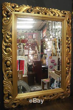 Large Renaissance Antique Gold Ornate Beveled Wall Mirror 123x93cm Wood Frame