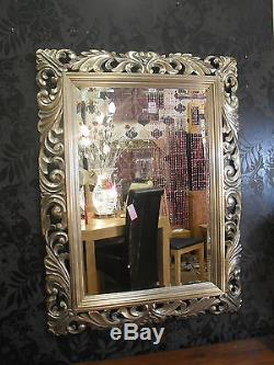 Large Renaissance Antique Silver Ornate Bevelled Wall Mirror 123x93cm Wood Frame