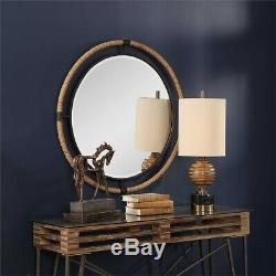 Large Round Forge Iron Wrapped Rope Beveled Wall Mirror Coastal Beach House Chic