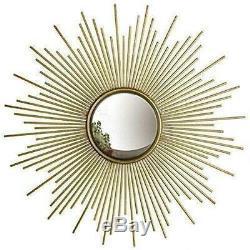 Large Round Gold Sunburst Wall Mirror