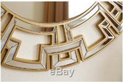 Large Round Gold Wall Mirror Geometric Greek Key Design Glam Mod Chic, 35.5 Dia