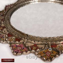 Large Round Mirror 31.5, Decorative Wall Accent Mirror, Peruvian painted Glass