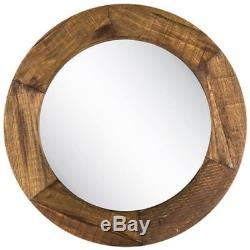 Large Round Rustic Stain Wood Wall Mirror Amana Grande Home Decor 34 D