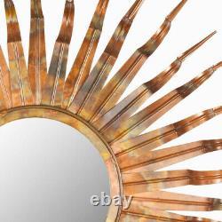 Large Round Sunburst Accent Wall Mirror Bronze Finish Metal Textured 3-D Frame