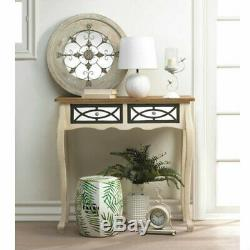 Large Round Wood Country Wall Hanging Mirror Decorative Home Decor Whitewashed