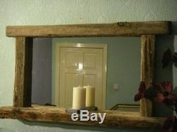 Large Rustic Chunky Frame Farmhouse Driftwood Mirror