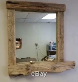 Large Rustic Driftwood Mirror with Candle Shelf / Mantel Custom built for you