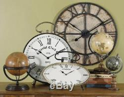 Large Rustic Nautical Map Wall Clock Black Iron & Wood Parchment-Color Face 31