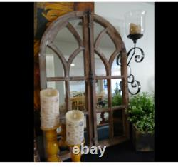 Large Rustic Vintage Cathedral Arch Windowpane Wood Accent Wall Mirror Art Decor