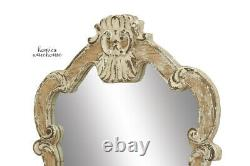 Large Rustic Wall Mirror Ornate Arched Scrolled Frame Vintage Style Mantle Decor
