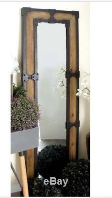 Large Rustic Wall Mirror Wood Frame Iron Distressed 67 H Industrial Farmhouse