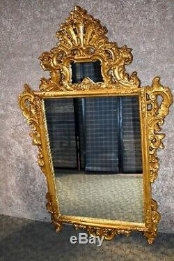 Large Shaped Ornate Burnished Gold Wall Mirror